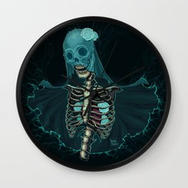 Skeleton with veil and white roses Wall Clock