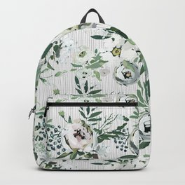 Green white blush pink watercolor geometrical floral Backpack