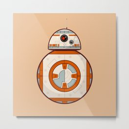 BB8 Droid Cream Background Metal Print