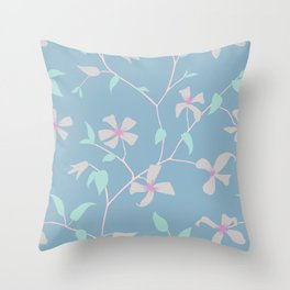 Floral Clematis Vine - Cool Summer Throw Pillow