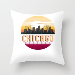 Chicago Vintage Sunset Skyline Retro Aestheic Style design Throw Pillow