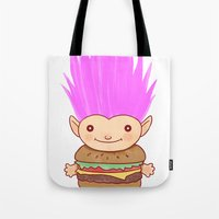 hamburger Tote Bags featuring  Hamburger Troll by Noel ILL Art