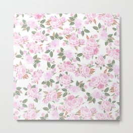 Romantic blush pink watercolor elegant roses floral Metal Print