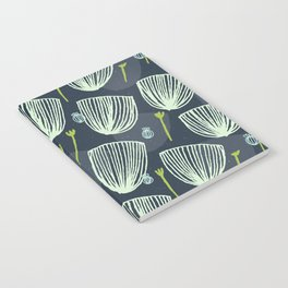 Tulip Garden M+M Navy Black by Friztin Notebook
