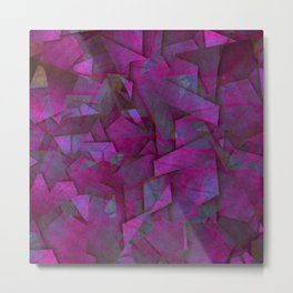 Fragments In Pueple - Abstract, fragmented pattern in purple Metal Print