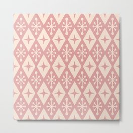 Mid Century Modern Atomic Triangle Pattern 711 Dusty Rose Metal Print