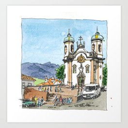 Church of St. Francis of Assisi, Ouro Preto, Brazil. Art Print