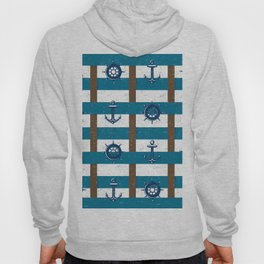Retro Ocean and Sea Nautical Anchor brown Blue Hoody
