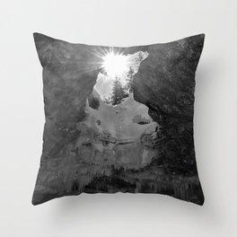 Sunlight in a dark cave Throw Pillow