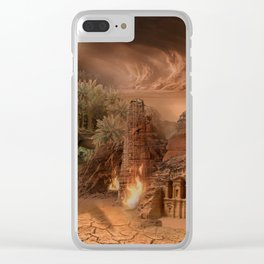 Desert paradise on the edge of Hell - Sandstorm Clear iPhone Case