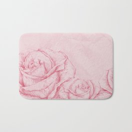 Vintage Roses Floral Pink Decorative Bath Mat