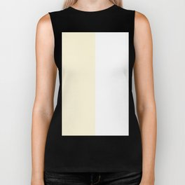 White and Cornsilk Yellow Vertical Halves Biker Tank