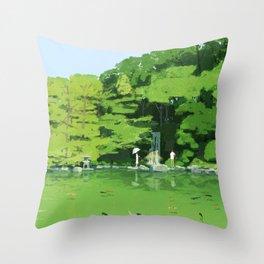 Green pond Throw Pillow