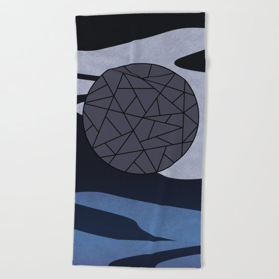 DARK MOON (abstract geometric) Beach Towel