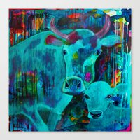 cows Canvas Prints featuring Cows by Silke Powers