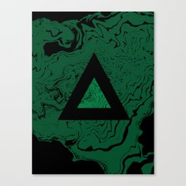 Spilled ink suminagashi malachite green marble stone watercolor marbling triangle minimalism Canvas Print