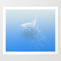Surreal stingray Art Print