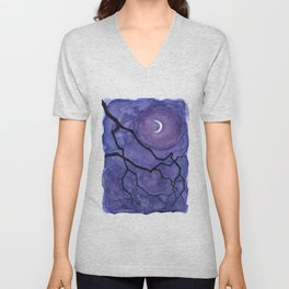 Crescent Moon and Night Sky  Unisex V-Neck