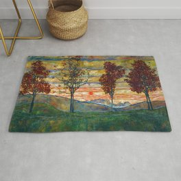 Four Trees with Red Leaves at Sunrise landscape painting by Egon Schiele Rug