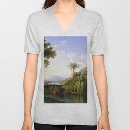 English Gardens of Caserta, Italy by Jakob Philipp Hackert Unisex V-Neck