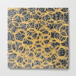Abstract Beehive Yellow & Black Pattern Metal Print