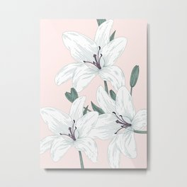 White Lilies Metal Print