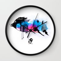 animal crew Wall Clocks featuring Animal by Organic Mind