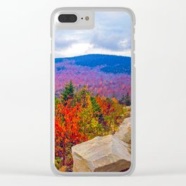 Brilliant Fall Colors at Ira Mountain in Kingfield, Maine (1) Clear iPhone Case