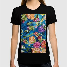 Colorful Flowers Palette Knife Painting, Floral Painting, Modern Painting, Abstract Flowers, Vintage T-shirt
