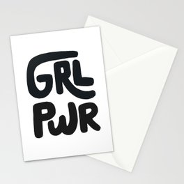 Grl Pwr black and white Stationery Cards