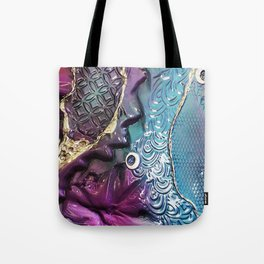 Purple Coloured Abstract Textured Glass Art Tote Bag