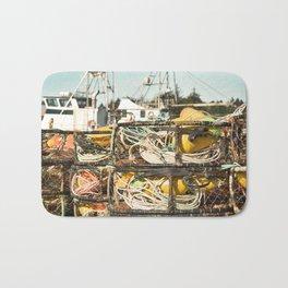 Crab Pot Photograph, Ilwaco Washington Harbor, Northwest Fisherman Boat Photo, Crabber, Seafood Bath Mat