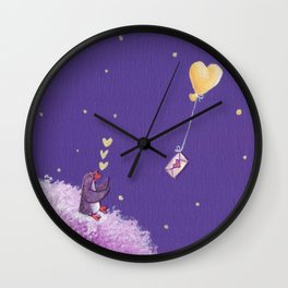 Penguin Sends Love Letter with Heart Balloon to Friend Across Starry Sky Wall Clock