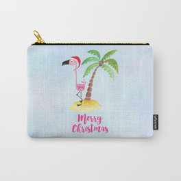Pink Flamingo and Palm Tree Christmas Illustration Carry-All Pouch