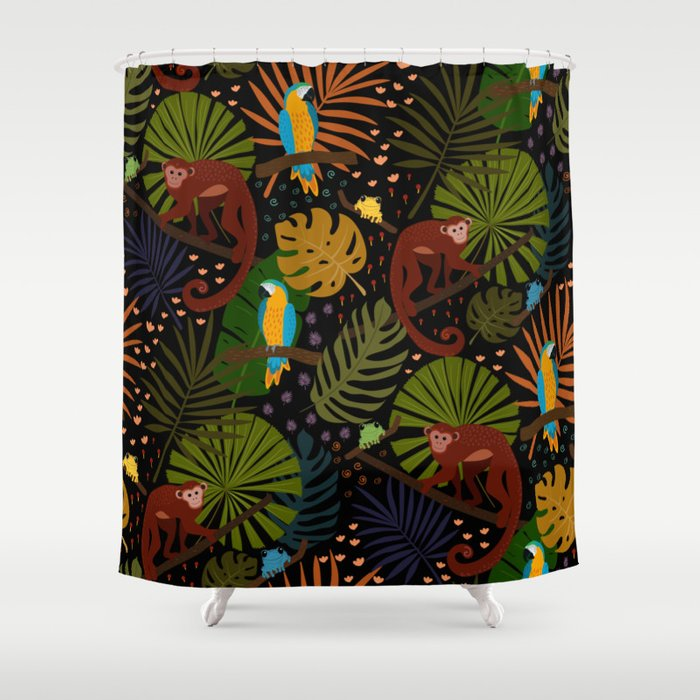 Jungle Pattern with Monkeys, Macaws and colorful Dart Frogs Shower Curtain