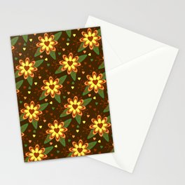 Beautiful Flowers with Heart Pistil Pattern Stationery Cards