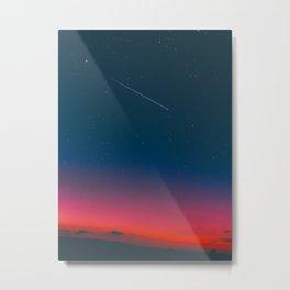 Neon Blue Pink Night Star Sky Metal Print