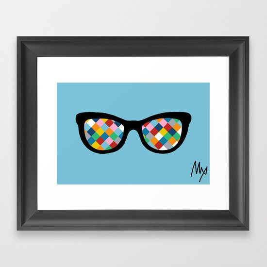 Diamond Eyes on Blue Framed Art Print