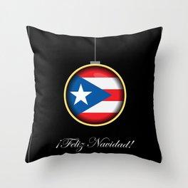 Feliz Navidad Puerto Rico Flag Throw Pillow