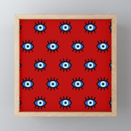 Evil Eye on Red Framed Mini Art Print