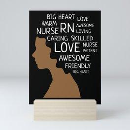 RN Nurse African American Nurses Afro Word Art Gift Mini Art Print