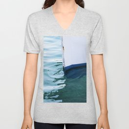 Boat bow and its reflection on teal clear water Unisex V-Neck