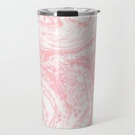 Elegant coral pink white watercolor abstract marble Travel Mug