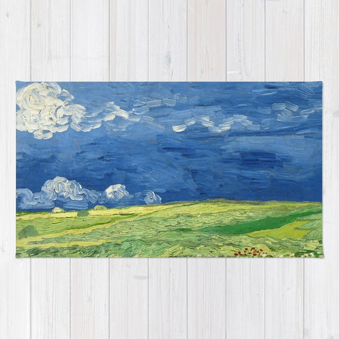Wheatfield Under Thunderclouds by Vincent van Gogh (1890) Rug