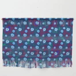 Blue Floral Pattern 17 Wall Hanging