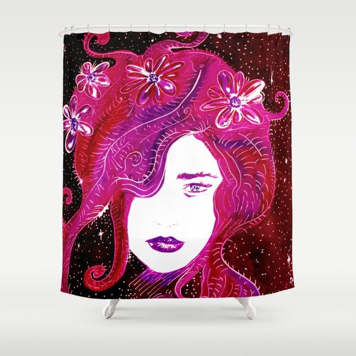 Flower Power SpaceGirl Shower Curtain