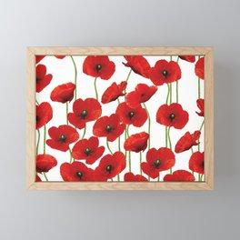 Poppies Flowers red field white background pattern Framed Mini Art Print