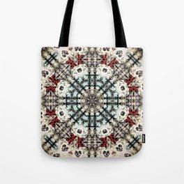 Vintage Distressed Mandala Design with hearts Tote Bag
