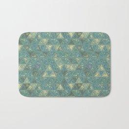Blue and Beige Triangles Bath Mat