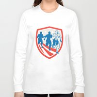 crossfit Long Sleeve T-shirts featuring American Crossfit Runners USA Flag Retro  by patrimonio